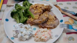 Marcella Hazan's milky pork recipe with the milky globlets poured back over the meat - my favourite pork dish.  WIth broccoli, coleslaw and potato salad.  We slept well that night too.