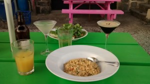 Crab risotto, spicy beef salad, and an appletini and an espresso martini to chase it down